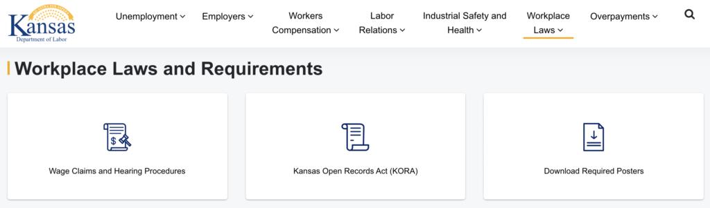 Department of Labor, Kansas website