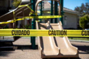 Playground blocked with cautionary tape