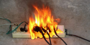 Plug causing a fire inside a house