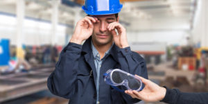 worker with eye injury